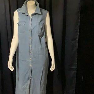 Women's Maxi Sleeveless Button Down Jean Dress  2X